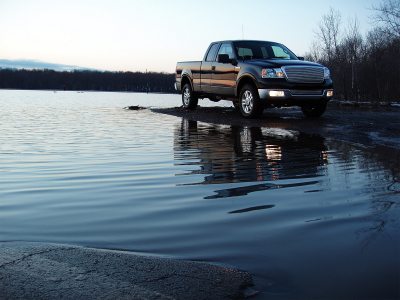 used Ford truck next to lake